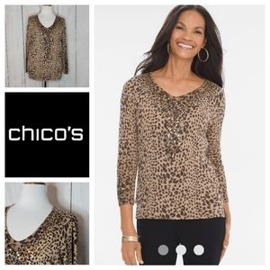 Chicos Animal print sequin pullover NWT